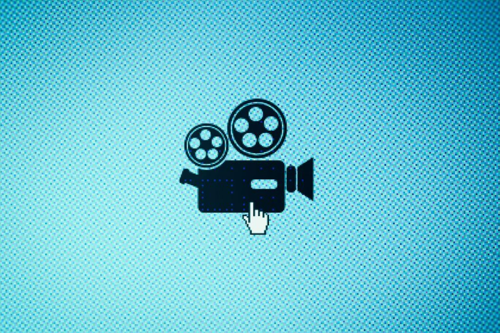 Movie camera icon on screen