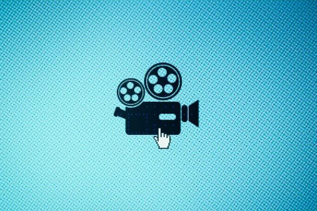 Movie camera icon on screen