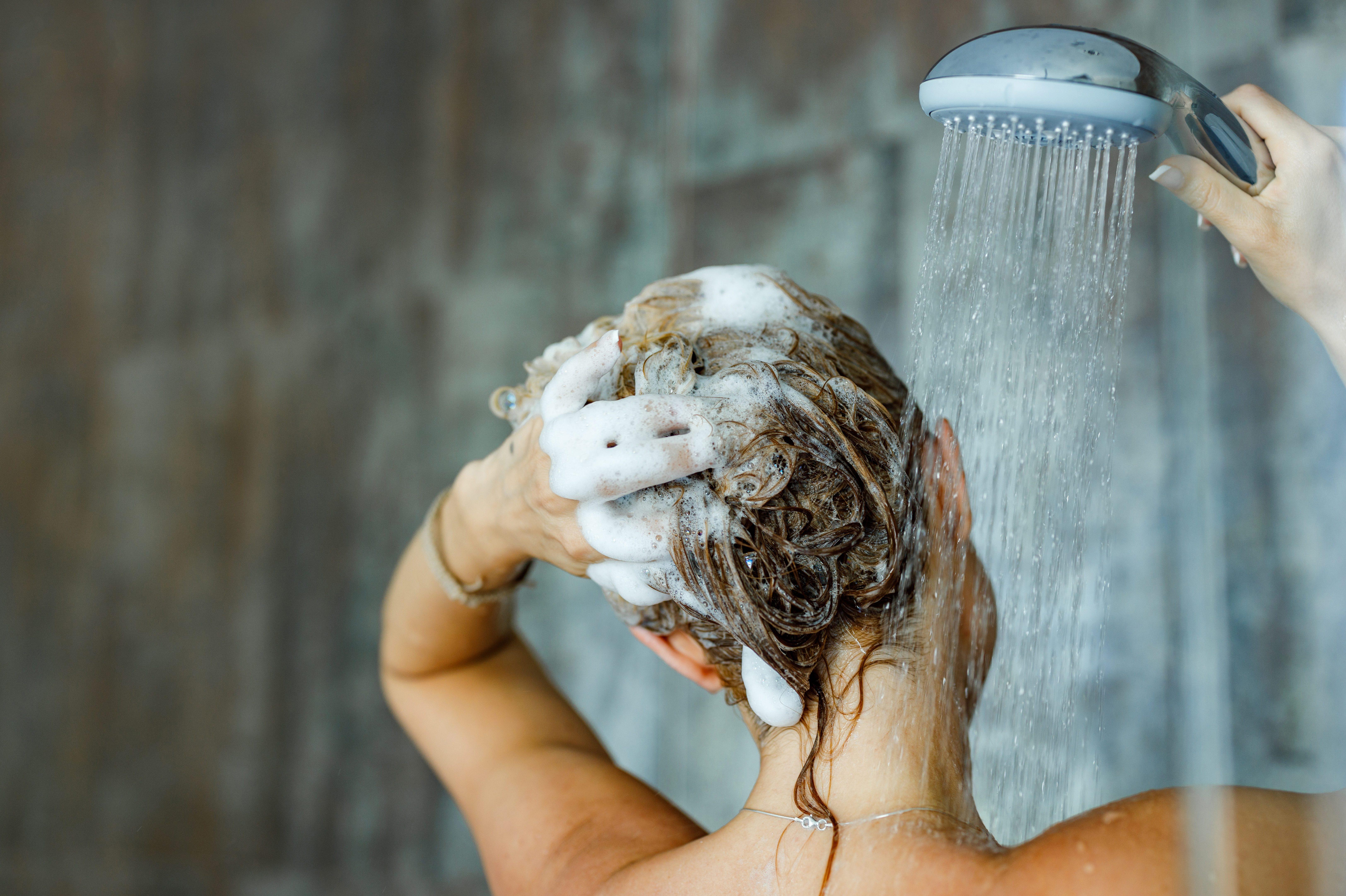Washing hair with shampoo!