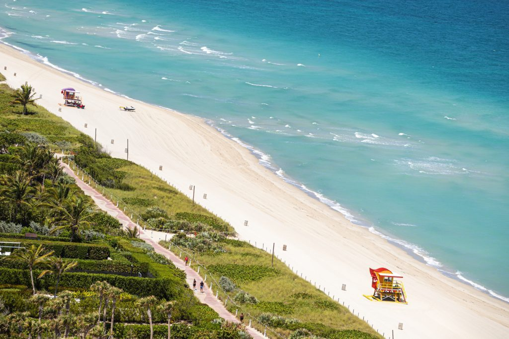 Florida, Miami Beach, Aerial of North Beach, Closed due to Coronavirus Pandemic