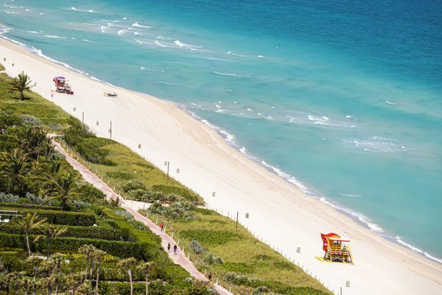 Florida, Miami Beach, Aerial of North Beach, Closed due to Coronavirus Pandemic
