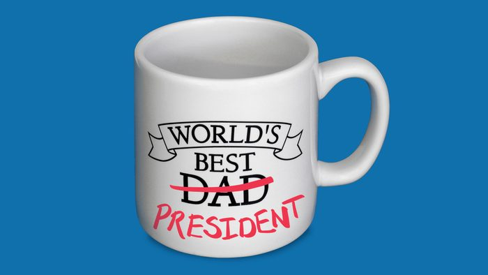 """world's best dad mug with crossed out """"dad"""" and handwritten """"president"""""""