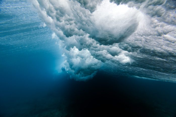 Beautiful picture of a wave crushing underwater