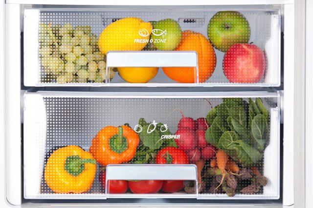 detail of fridge with fresh food