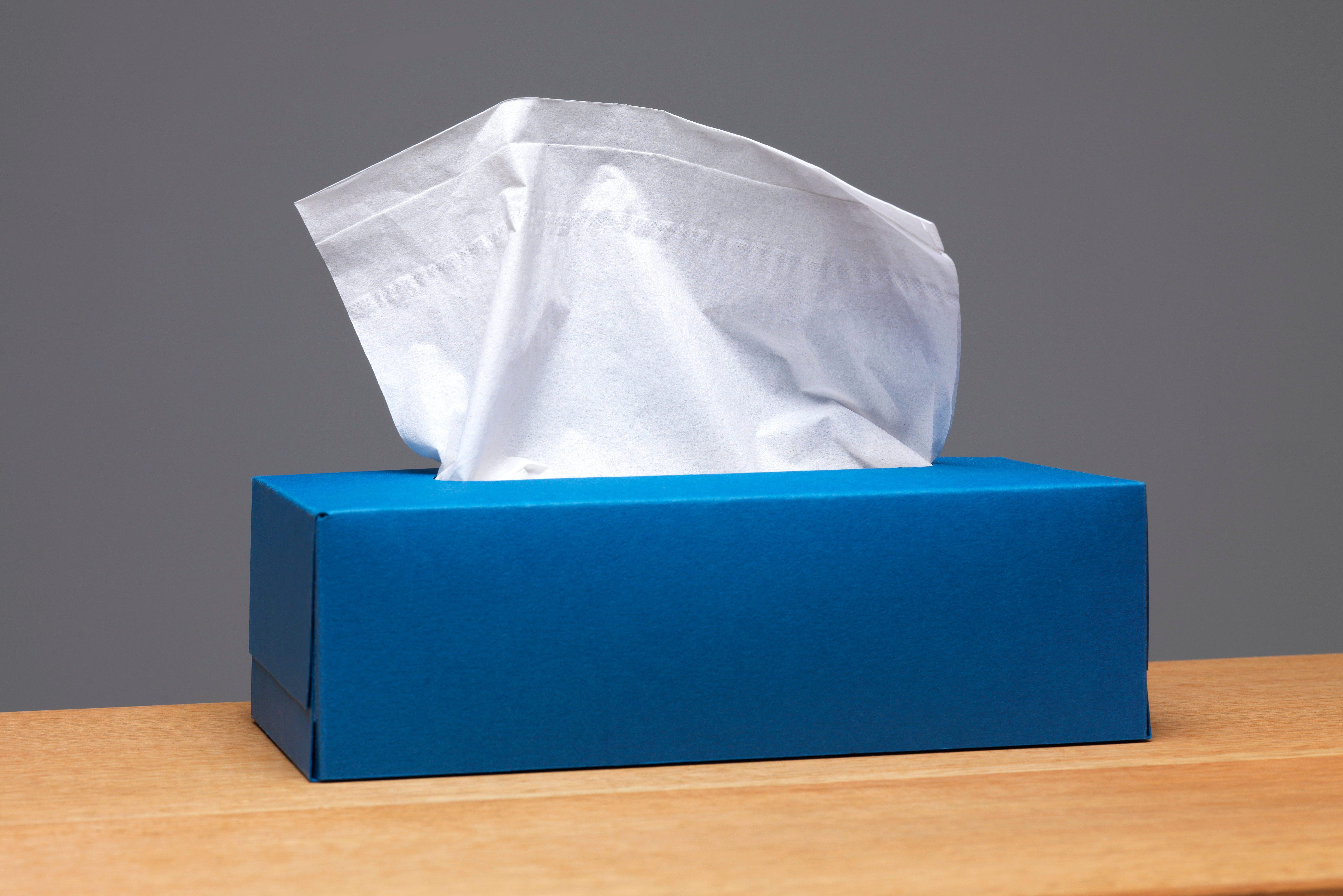 blue tissue box