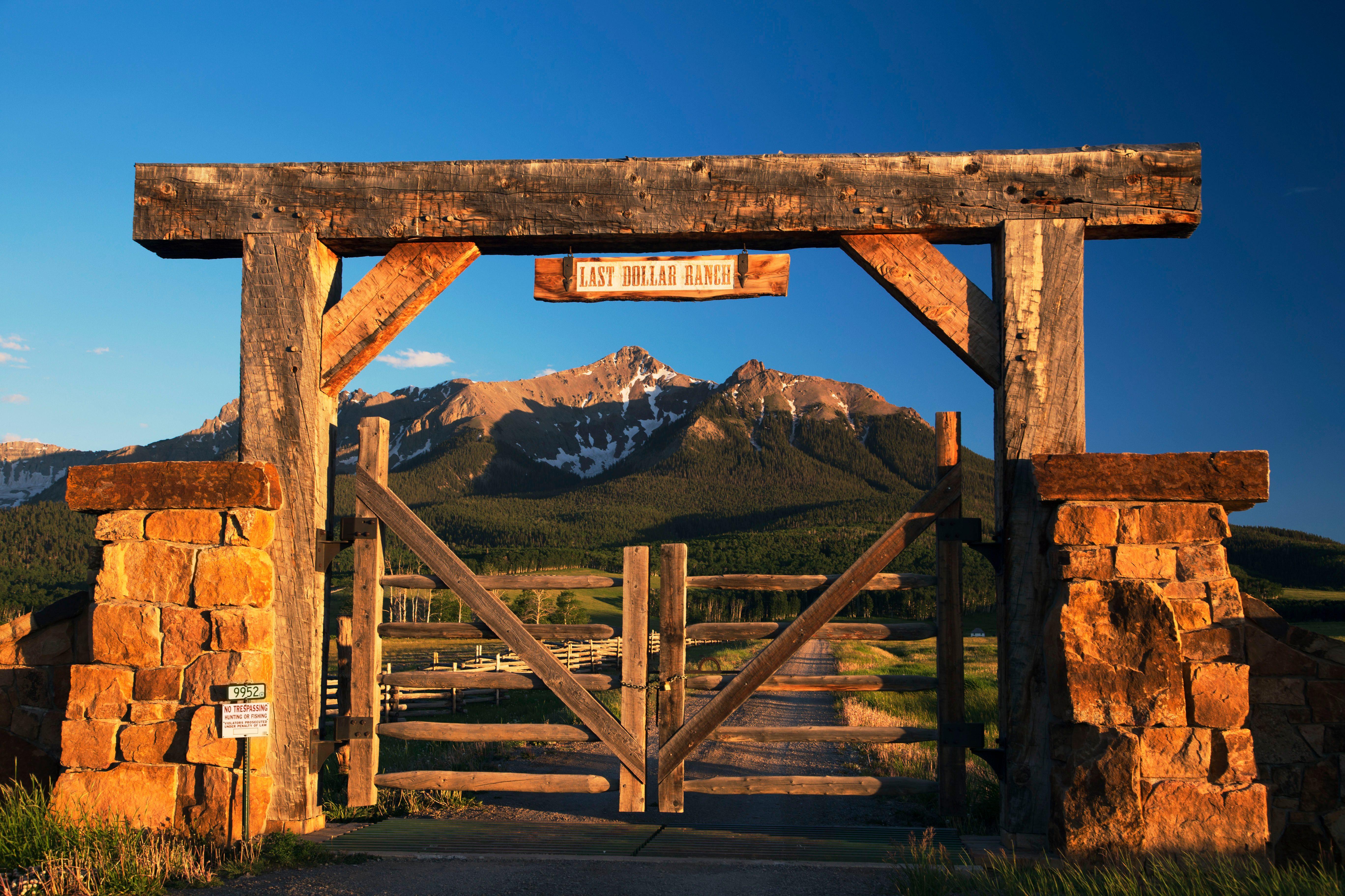 Historic Last Dollar Ranch gate, Hastings Mesa, Route 58p, near Ridgway, Colorado