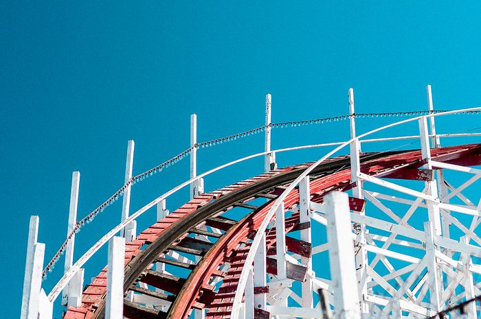 Low angle view of roller coaster track against clear blue sky