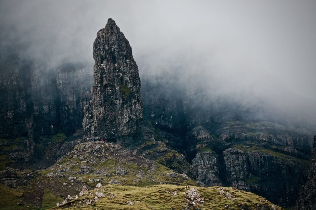 Rock Formations At Old Man Of Storr During Foggy Weather