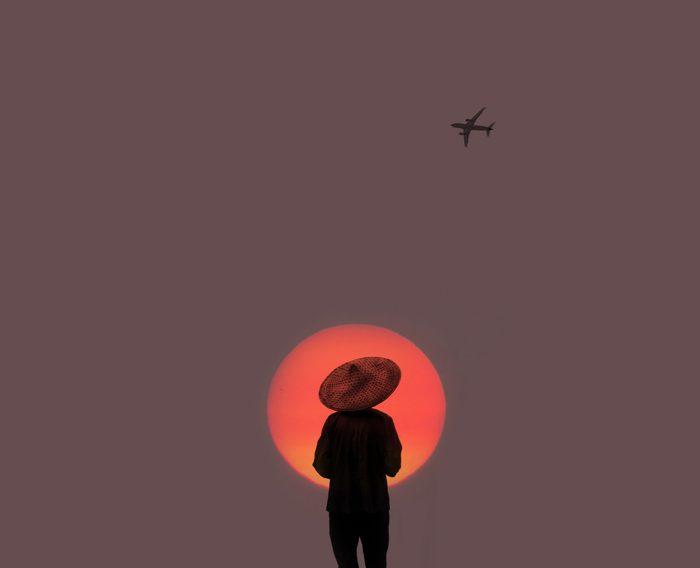 Farmer at sunrise.