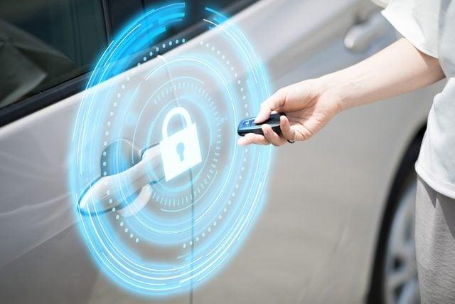 keyless entry. car security concept.