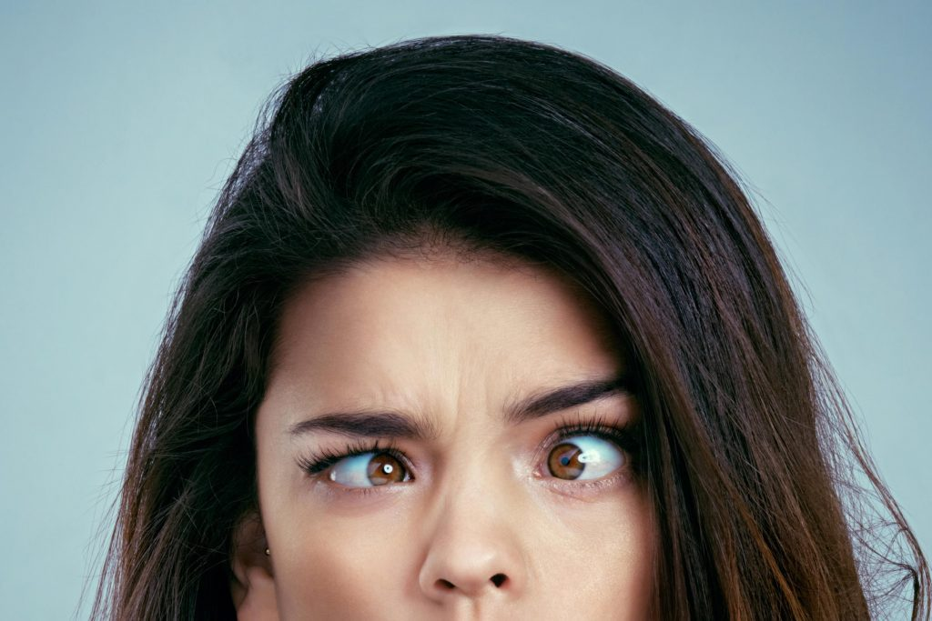 woman cross eyed