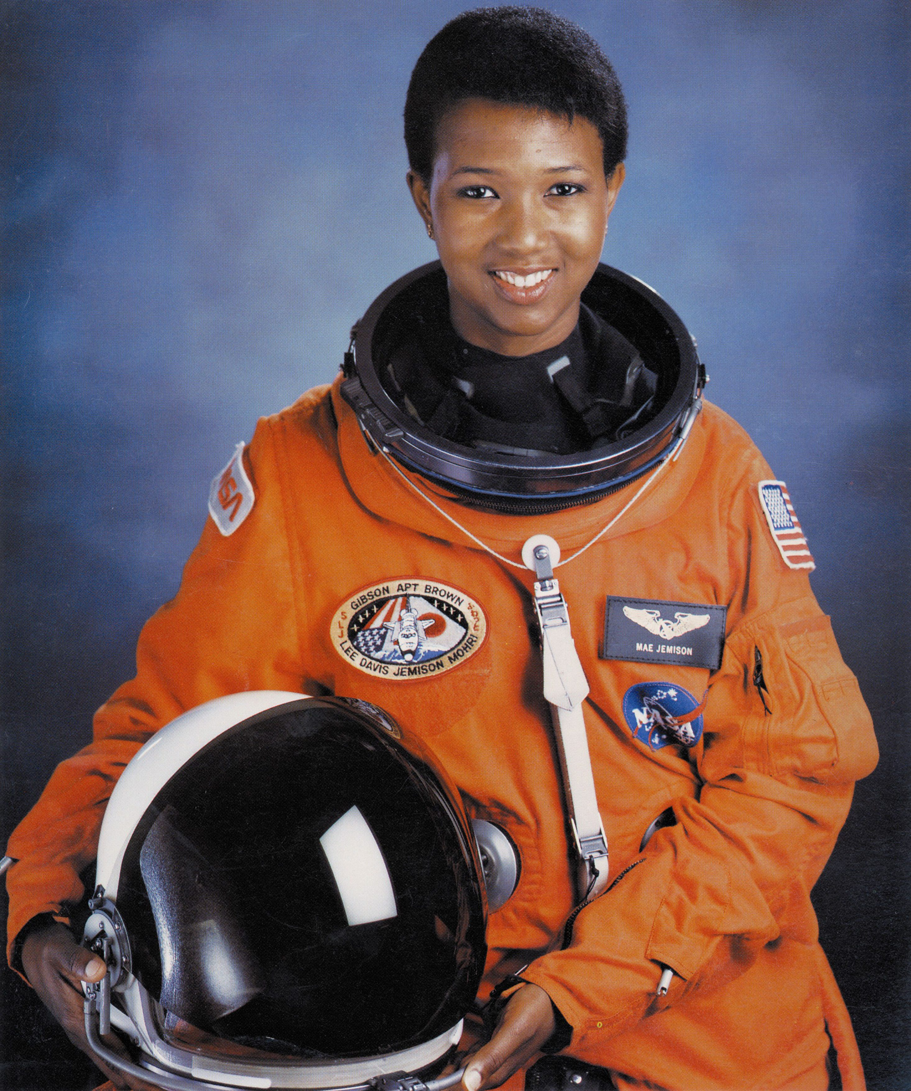 Mae C Jemison, first African-American woman in space, July 1992.