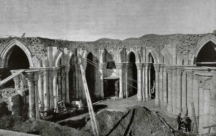 The Sagrada Familia under construction.