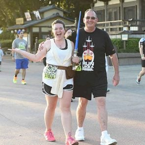 megan dubois and father at a disney star wars 5k