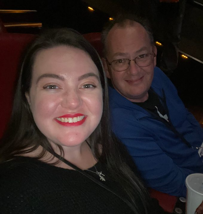 megan dubois and father at the movies