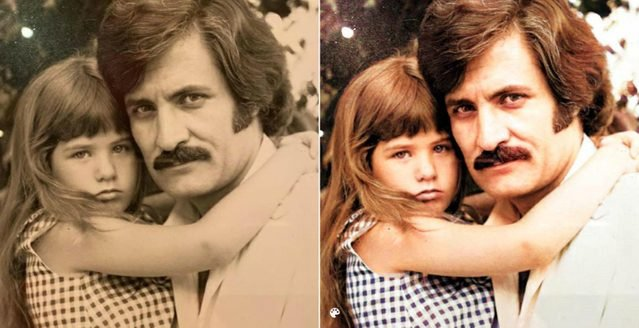 colorized young jennifer aniston and father
