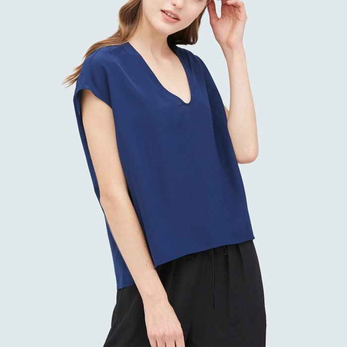 Lily Silk Casual V Neck Loose Silk Tee