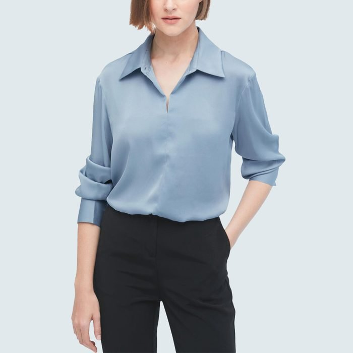 Lily Silk Concise Silk Blouse With Smocked Cuffs