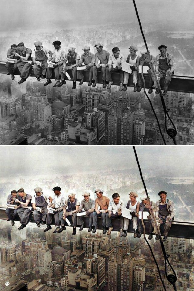 colorized lunch on a skyscraper beam