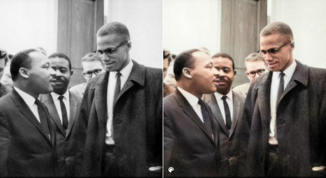 colorized MLK meets Malcolm X