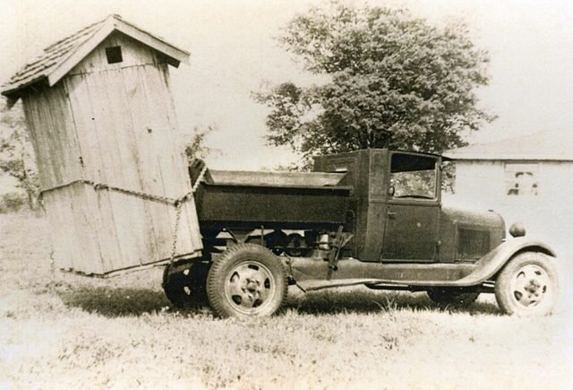 outhouse on a truck