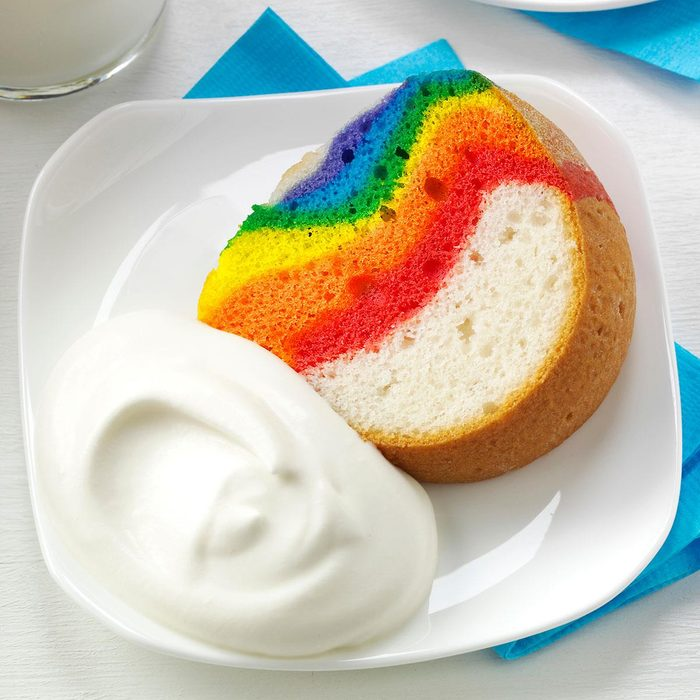 Rainbow Cake with Clouds