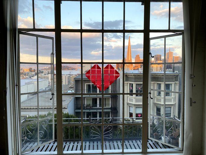 hearts on window