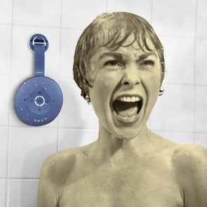 Psycho movie still with smart speaker on the shower wall