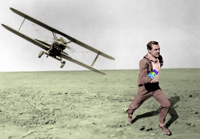 North by Northwest movie still with fitness trackers on man's wrist