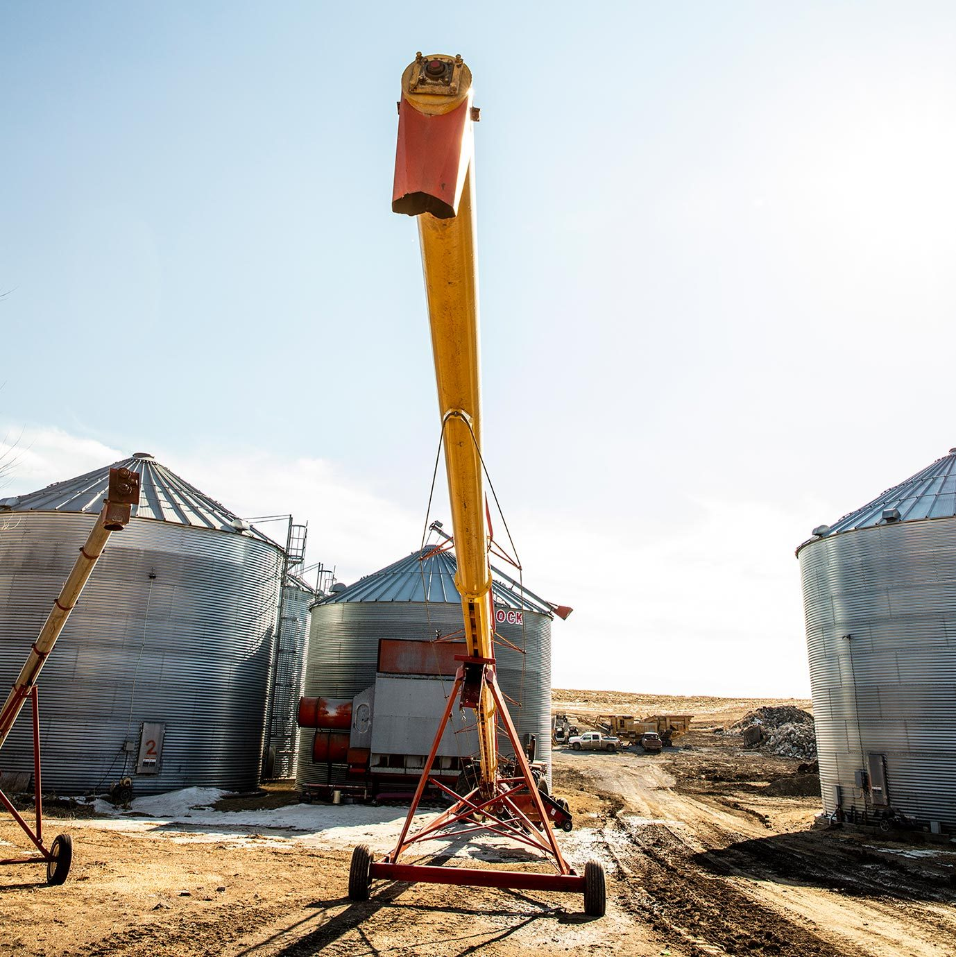 corn chute used to move dry corn into a silo
