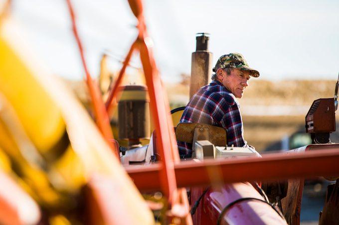 Kurt Kaser driving the auger