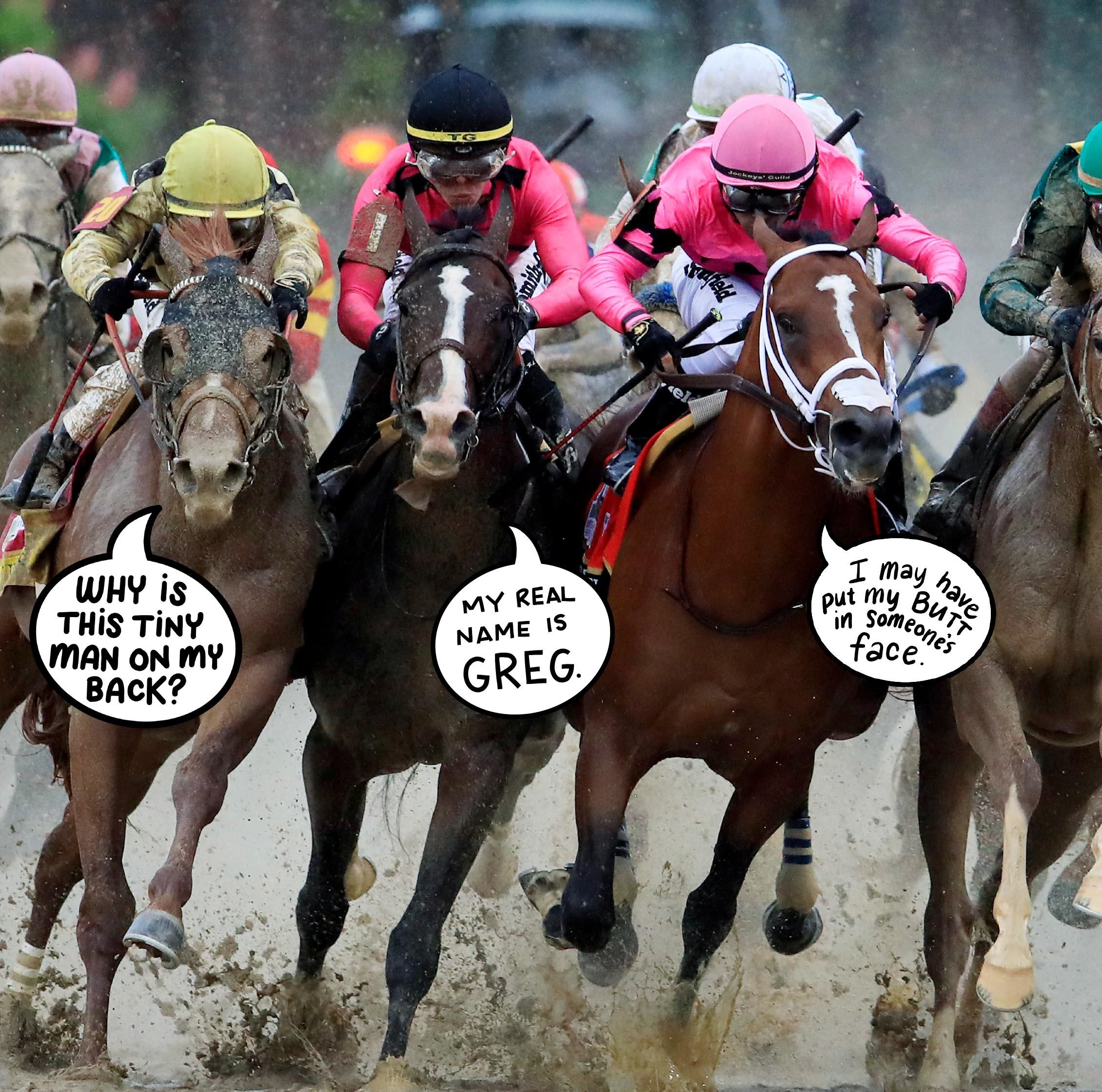 kentucky derby horses with speech bubbles