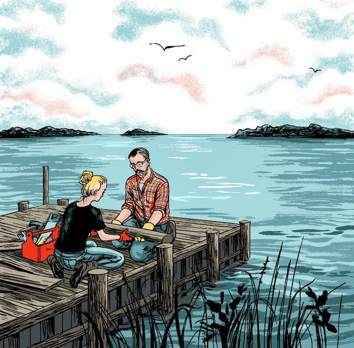 illustration by Agata Nowicka of father and daughter working together