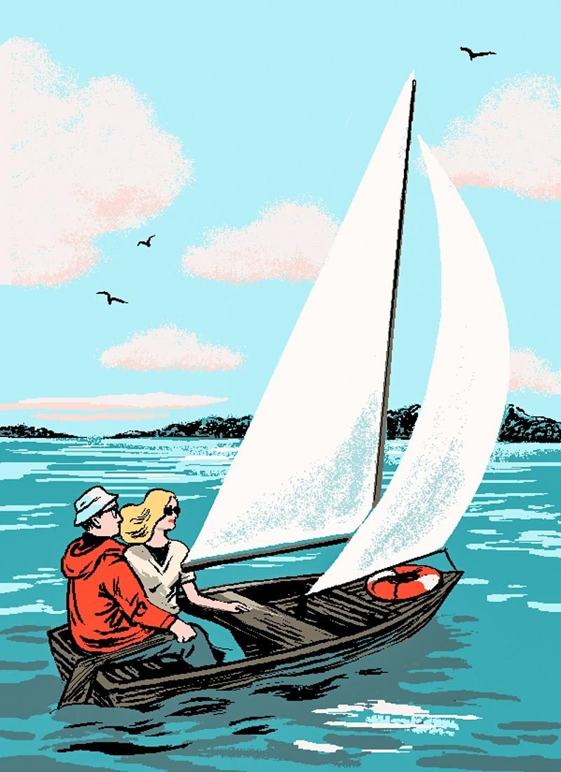 illustration by Agata Nowicka of father and daughter sailing