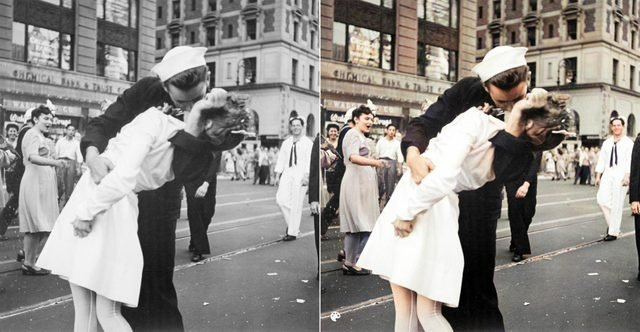 colorized kiss in times square