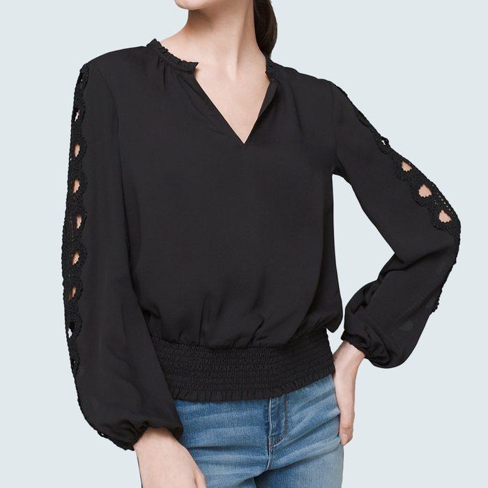 White House Black Market Embroidered Sleeve Blouse