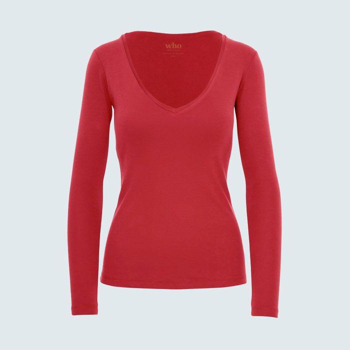 Who Shirt Company Simone Long Sleeve V Neck