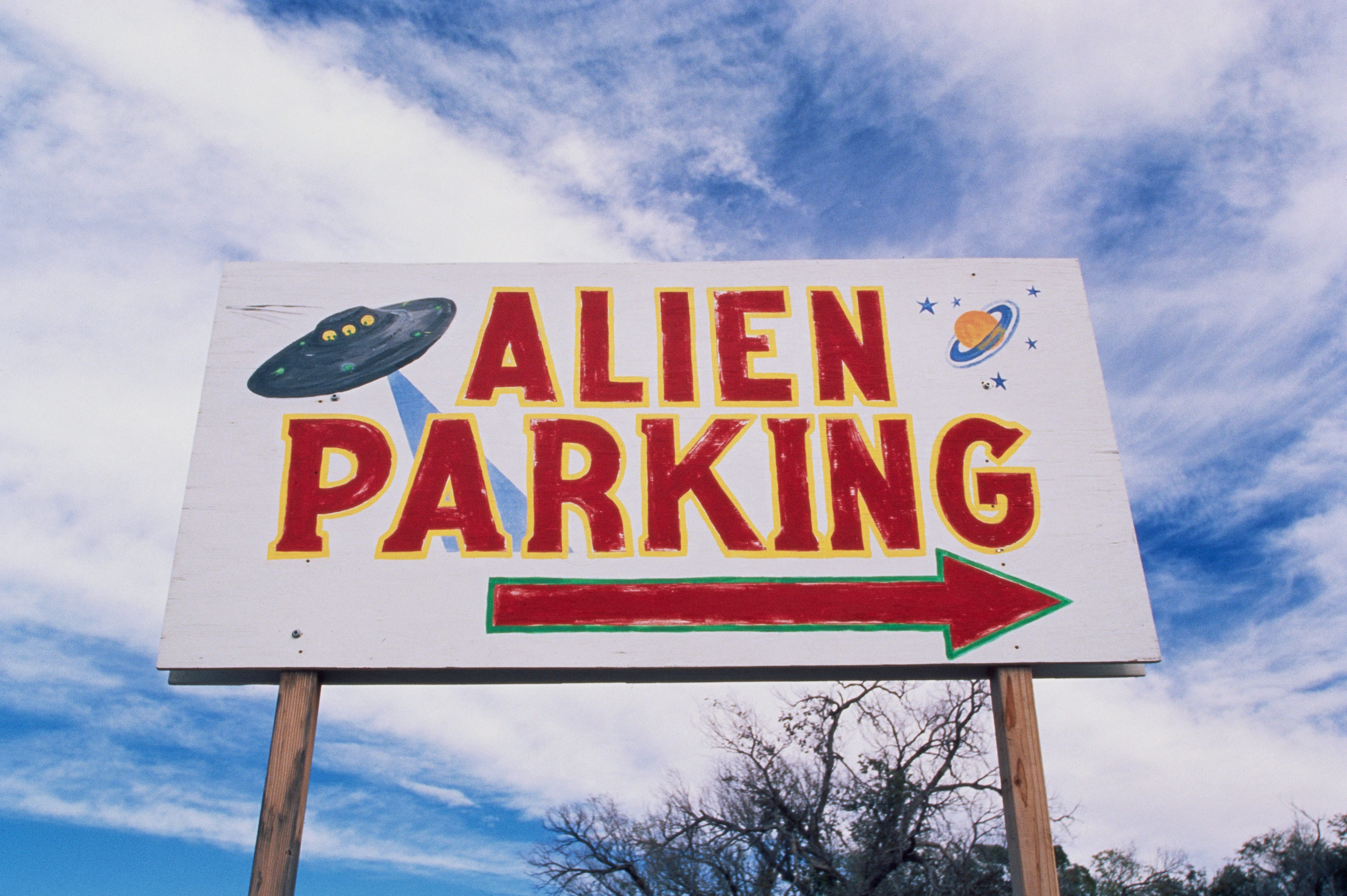 """Alien Parking"" Directional Sign"