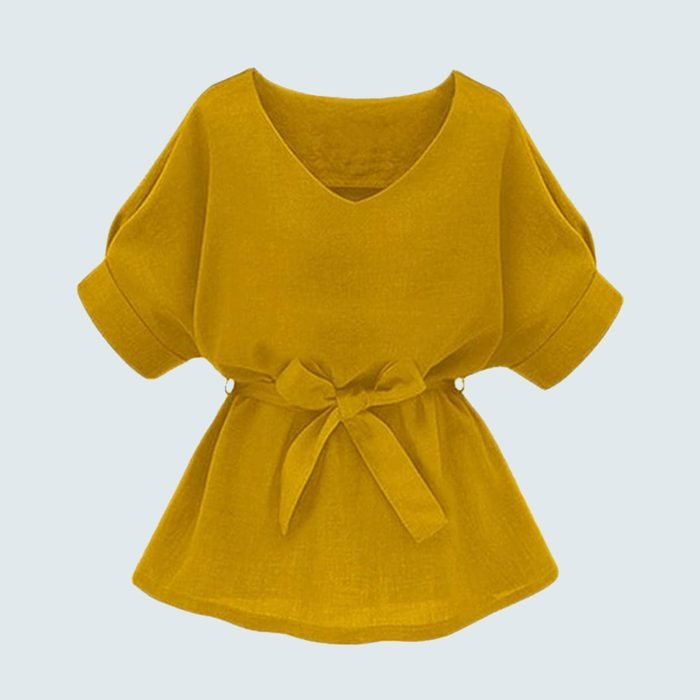 Milumia V-Neckline Short Sleeve Tie Top
