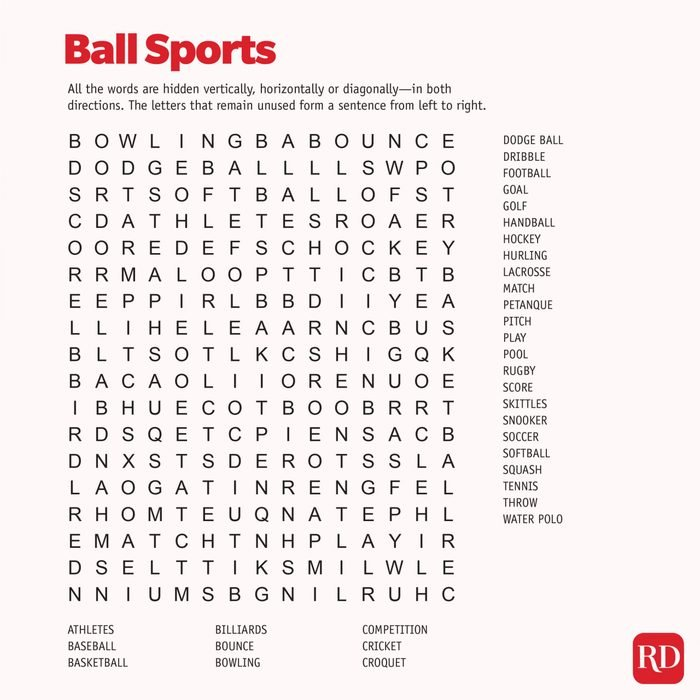 Ball Sports Word search