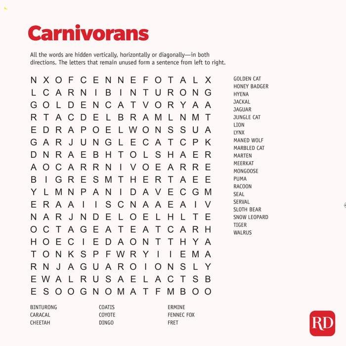 Carnivorans Word search