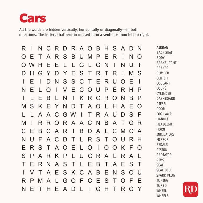 Cars Word search
