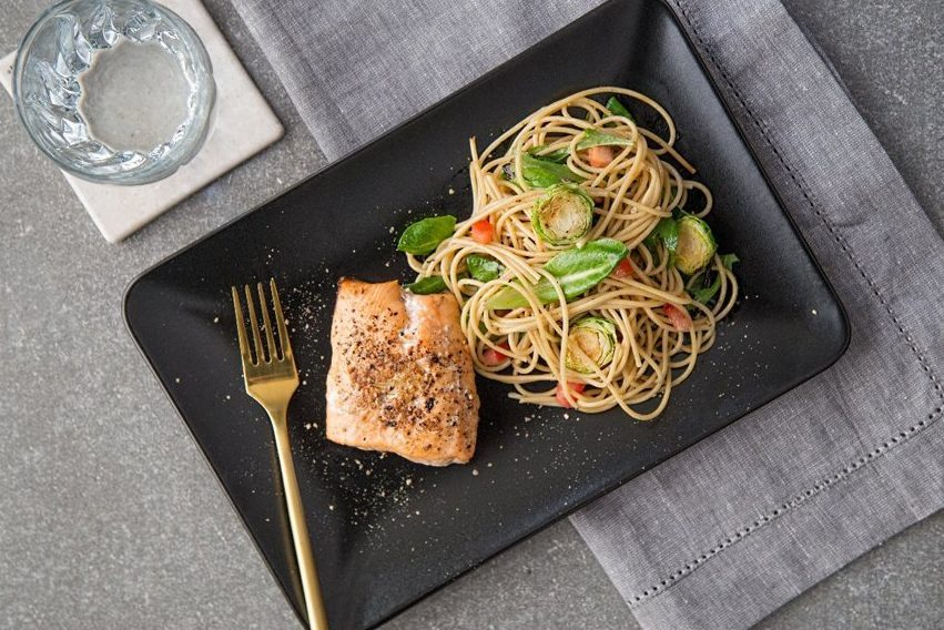 salmon and noodles food delivery