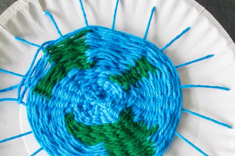 Earth Weaving Project For Kids Using Paper Plate and Yarn
