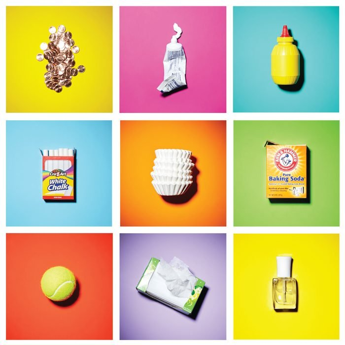 """grid of """"ordinary, household objects"""" on colored backgrounds"""