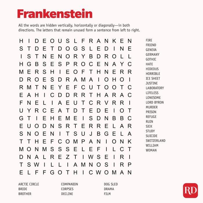 Frankenstein Word search
