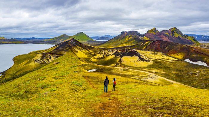 Beautiful colorful volcanic mountains Landmannalaugar in Iceland