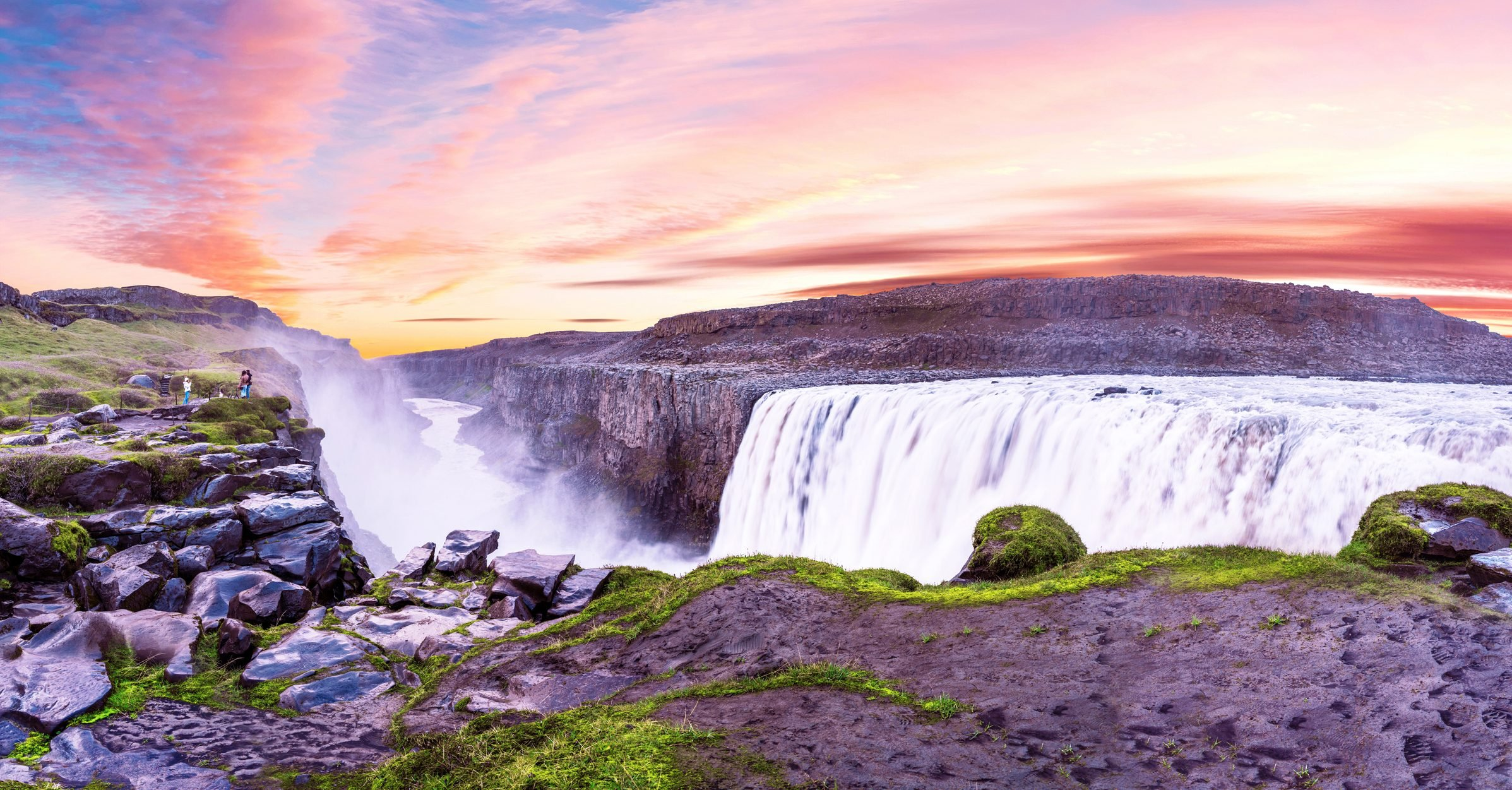 Beautiful landscape panorama with most powerful waterfall in Europe Dettifoss in Vatnajokull National Park in Northeast Iceland. Exotic countries. Amazing places. (Meditation, antistress - concept).