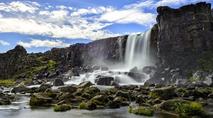 Öxarárfoss waterfall in Thingvellir National Park, Iceland.