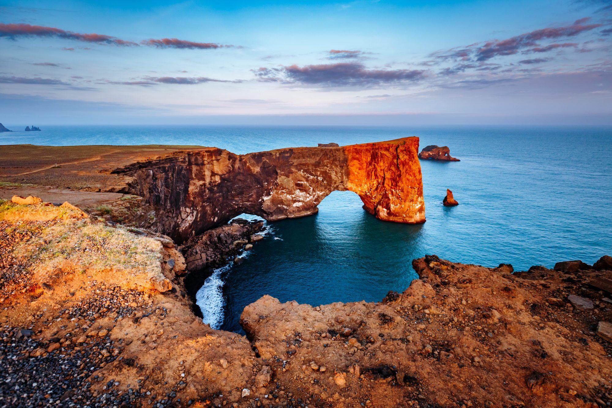 Location Sudurland, cape Dyrholaey, coast of Iceland, Europe. Beauty world.